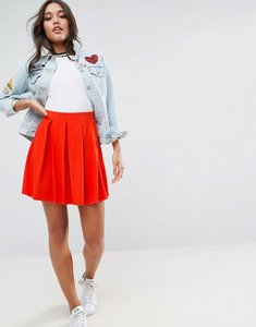 Read more about Asos mini skater skirt with box pleats - red
