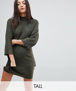 Read more about Noisy may tall high neck knitted dress - ivy green