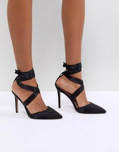 Read more about Asos pinot satin lace up heels - black satin