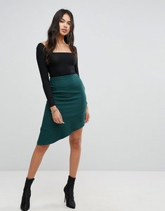 Read more about Prettylittlething ruffle trim aysmmetric skirt - green