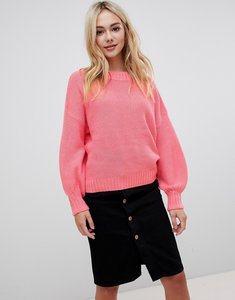 Read more about Qed london frilly trim textured high neck jumper - pink