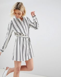 Read more about Unique 21 white and black stripe shirt dress - black white stripe