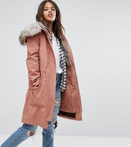 Read more about Asos tall parka with detachable faux fur liner - pink