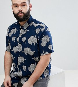 Read more about Asos design plus regular fit floral shirt - navy