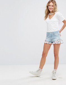 Read more about Bershka floral printed detail denim shorts - blue