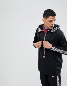 Read more about Nike half zip hoodie with taped side stripe in black aj2296-010 - black