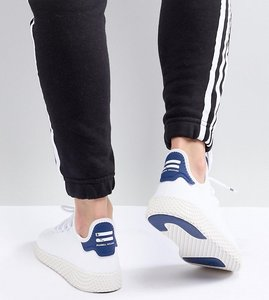 Read more about Adidas originals pharrell williams tennis hu trainers in white and blue - white