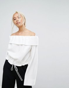 Read more about House of sunny off shoulder boxy jumper with tie waist - off white