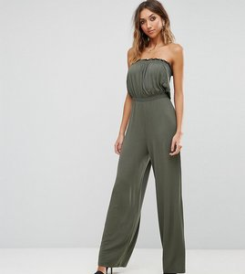 Read more about Asos tall bandeau jersey jumpsuit with wide leg - khaki
