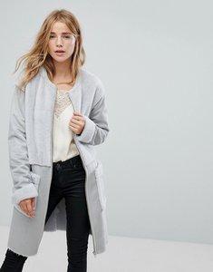 Read more about Vila faux shearling pocket detail coat - grey