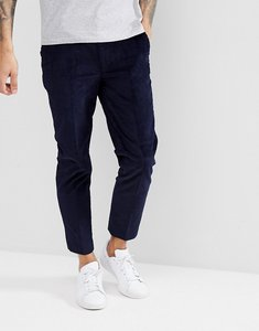 Read more about Asos skinny crop smart trousers in navy velvet cord - navy