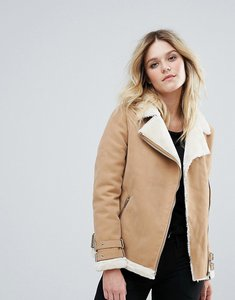 Read more about Missguided faux fur lined aviator jacket camel - camel