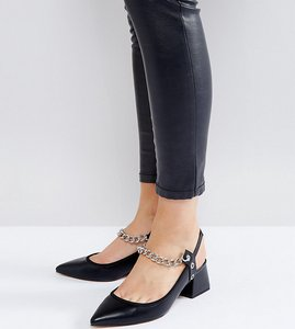 Read more about Asos savage wide fit chain pointed heels - black