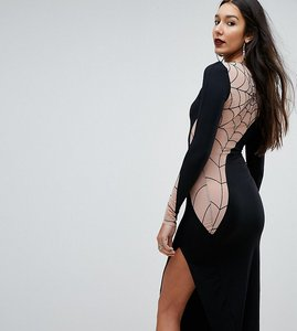 Read more about Asos tall halloween flocked spider web mesh back midi dress - black