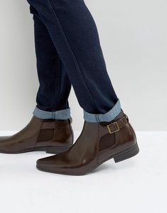 Read more about Asos chelsea boots in brown faux leather with strap detail - brown