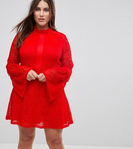 Read more about Rage plus long sleeve lace skater dress - bight red