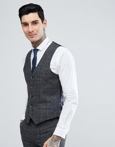Read more about Harry brown grey check slim fit wool blend suit waistcoat - grey
