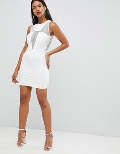 Read more about Rare london deep v mesh mini dress - white