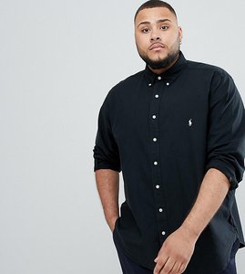 Read more about Polo ralph lauren big tall garment dyed shirt player logo buttondown in black - polo black
