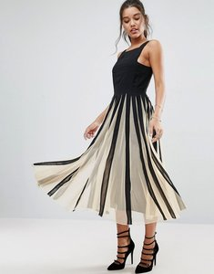 Read more about Asos mesh fit and flare mono midi dress - mono