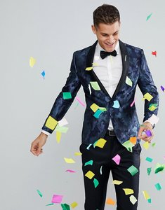 Read more about Moss london skinny blazer in party camo - blue merman