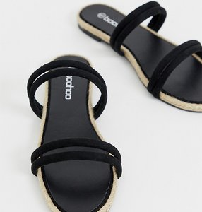 Read more about Boohoo flat espadrille sandals in black