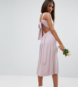 Read more about Asos tall wedding v front ruched midi dress - lilac