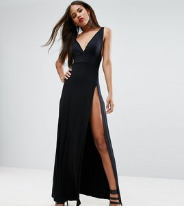 Read more about Asos tall super thigh split maxi dress - black