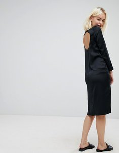 Read more about Asos midi dress with open back - black