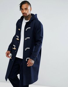 Read more about Asos wool mix oversized duffle coat in navy - navy