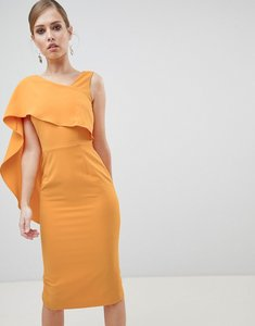 Read more about Lavish alice midi dress with drape one shoulder - tangerine