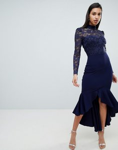 Read more about City goddess long sleeve high neck fishtail maxi dress with lace detail - navy