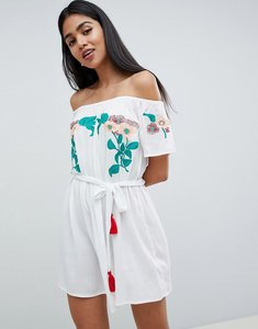Read more about Asos design floral embroidered off shoulder dress - white