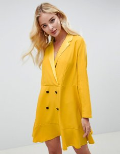Read more about Asos design tux mini dress with long sleeves and pep hem - mustard