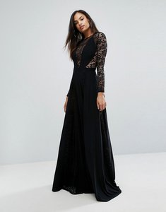 Read more about Club l lace panel detail slinky maxi dress - black