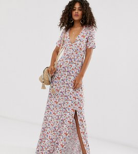 Read more about Asos design tall button through maxi tea dress with splits in grunge ditsy print