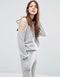 Read more about Asos lounge jumper with cold shoulder co-ord - grey
