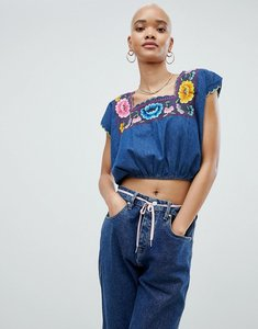 Read more about Asos design denim embroidered crop top - blue