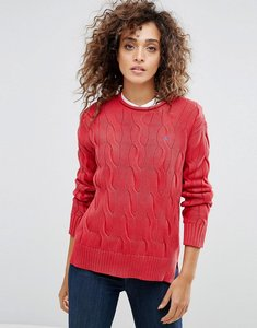 Read more about Polo ralph lauren crew neck cable knit jumper - red