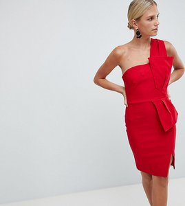 Read more about Vesper one shoulder pencil dress with bow waist - red