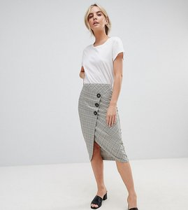 Read more about Asos design petite tailored midi skirt in check with button wrap detail - check