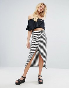 Read more about Bershka wrap front maxi skirt - multi