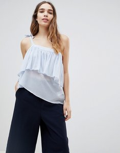 Read more about Monki ruffle one shoulder top - dusty blue