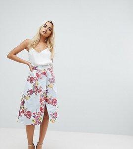 Read more about Asos petite salon floral jacquard prom skirt co-ord - multi