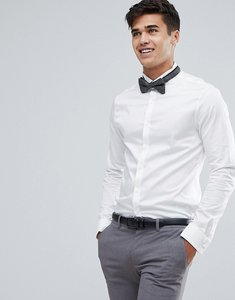 Read more about Asos wedding skinny sateen shirt in white with wing collar and double cuff - white