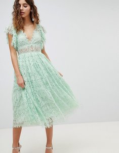 Read more about Asos design lace prom midi dress with frill sleeve - mint