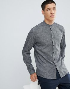 Read more about Asos design slim twill shirt with grandad collar in grey - grey
