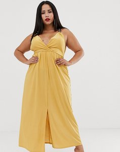 Read more about Asos design curve slinky maxi dress with ring detail