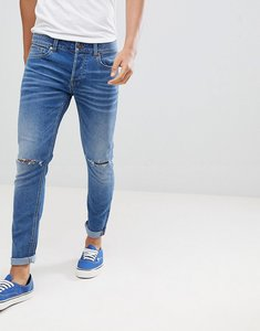 Read more about Only sons skinny jeans in washed denim with knee rip - medium blue
