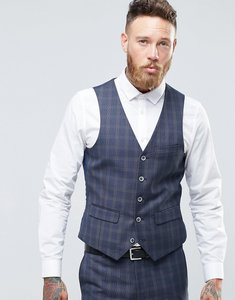Read more about Harry brown windowpane check slim fit waistcoat - grey
